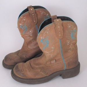 Justin 7 Brown Low Cowboy Western Boots Gypsy EUC